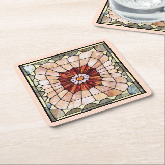 Art Deco Stained Glass 2 Square Paper Coaster