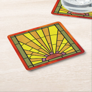 Art Deco Stained Glass 3 Square Paper Coaster