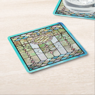 Art Deco Stained Glass 4 Square Paper Coaster