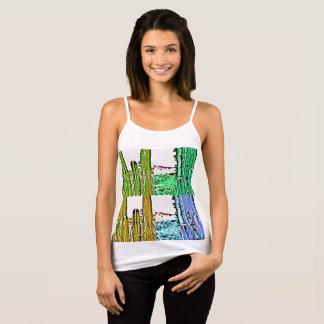 Art Deco Stove Pipe Cactus Spagetti Strap Tank Top