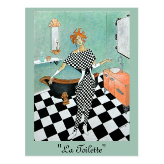Art Deco-Style Card--Orig. Art/Woman in Bathroom Postcard