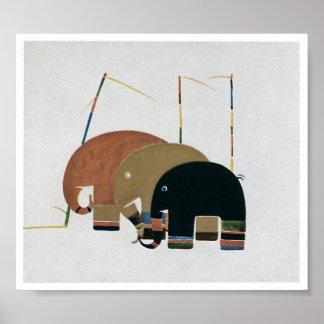 Art Deco Style Elephants Poster