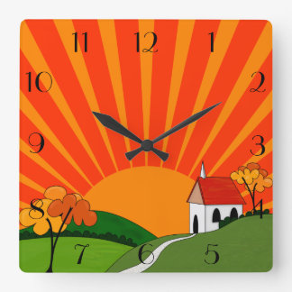 Art Deco Style Landscape with Church Square Wall Clock