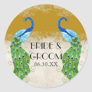 Art Deco Style Peacock Gold Favor Gift Tags Seal
