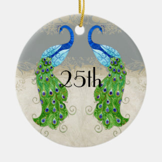 Art Deco Style Peacock Grey Vintage Lace Ceramic Ornament