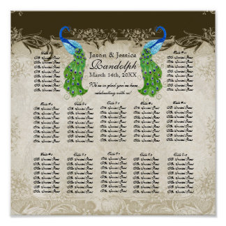 Art Deco Style Peacock Reception Seating Chart Poster