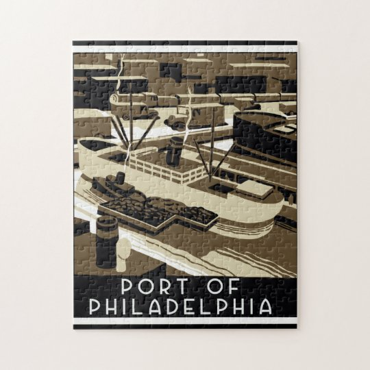 Art Deco style Port of Philadelpia Jigsaw Puzzle