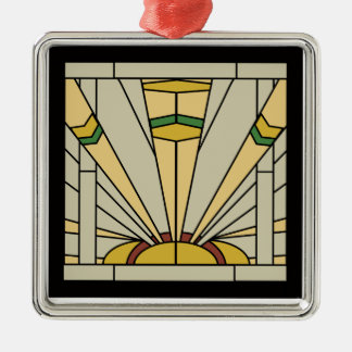 Art Deco Sunshine Silver-Colored Square Ornament