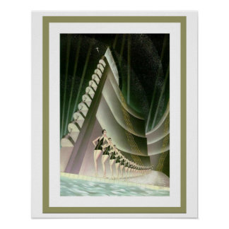 Art Deco Swimmers poster 16 x 20