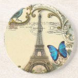 Art Deco swirls butterfly Eiffel Tower Paris Beverage Coaster