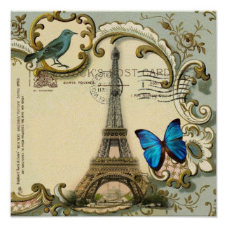 Art Deco swirls butterfly Eiffel Tower Paris Poster