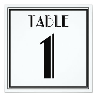 Art Deco Table Number 1 Card