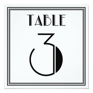 Art Deco Table Number 3 Card