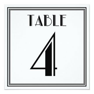 Art Deco Table Number 4 Card