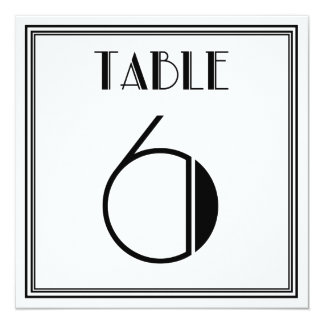 Art Deco Table Number 6 Card