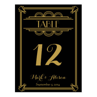 ART Deco Table Number with Menu  gold wedding Postcard
