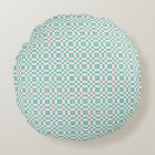Art-Deco-Teal-Breath-Round-Accents Round Pillow