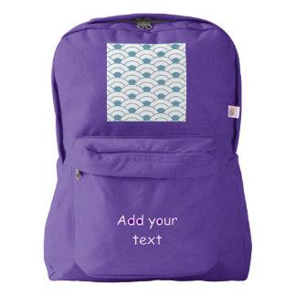Art deco,teal,white,vintage,shell pattern,1920 era backpack