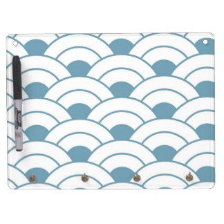 Art deco,teal,white,vintage,shell pattern,1920 era dry erase board with keychain holder