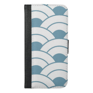 Art deco,teal,white,vintage,shell pattern,1920 era iPhone 6/6s plus wallet case