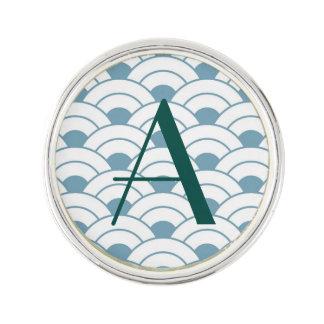 Art deco,teal,white,vintage,shell pattern,1920 era lapel pin