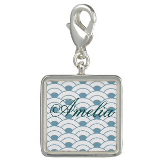 Art deco,teal,white,vintage,shell pattern,1920 era photo charm