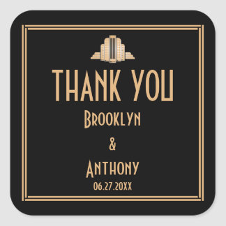 Art Deco Thank You Great Gatsby Wedding Stickers
