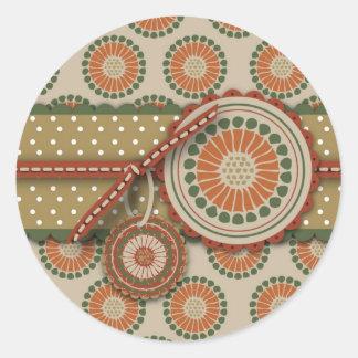 Art Deco Thanksgiving Classic Round Sticker