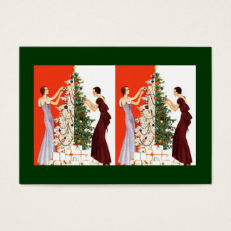 ART DECO TREE DECORATING GIFT TAG CARD BASKET TAGS