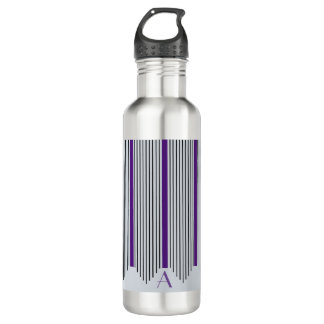 Art Deco Vertical Lines, Purple & Black, Monogram 710 Ml Water Bottle