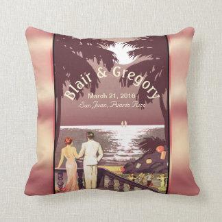 Art Deco Vintage Beach | blush pink Throw Pillow