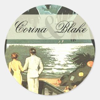 Art Deco Vintage Beach Round Sticker