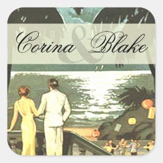 Art Deco Vintage Beach square Square Sticker