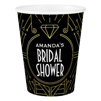 Art Deco Vintage Black and Gold Bridal Shower Cups Paper Cup