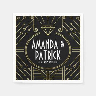 Art Deco Vintage Black and Gold Wedding Napkins