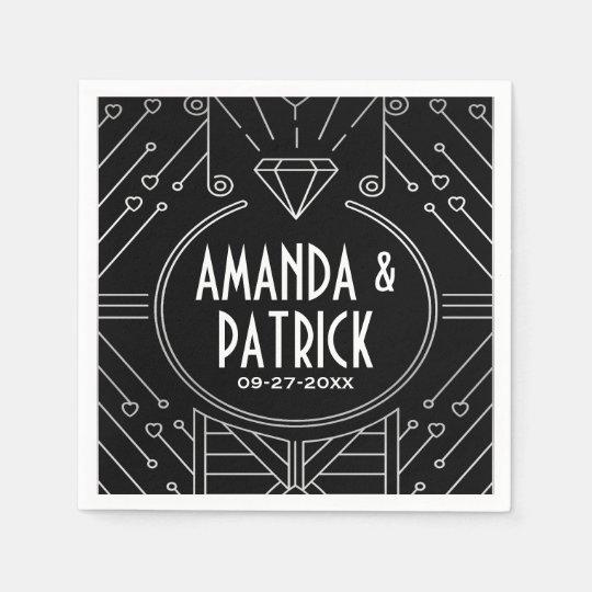 Art Deco Vintage Black and Silver Wedding Napkins Disposable Napkins