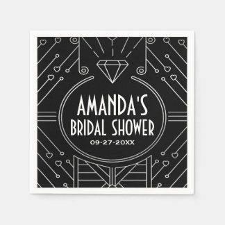 Art Deco Vintage Black Bridal Shower Napkins Disposable Napkins