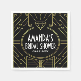 Art Deco Vintage Black Gold Bridal Shower Napkins