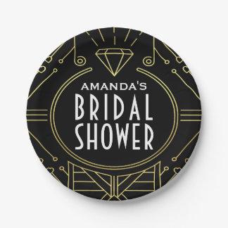 Art Deco Vintage Black Gold Bridal Shower Plates 7 Inch Paper Plate
