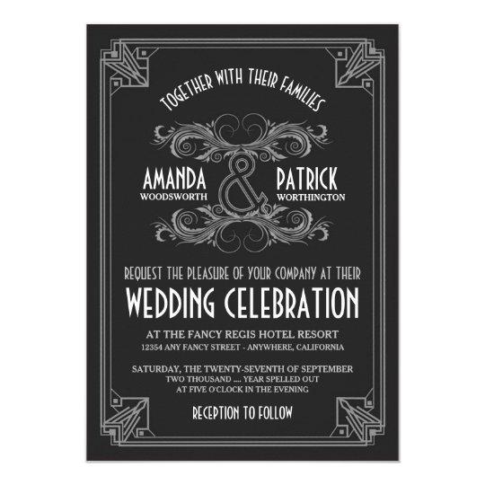 Art Deco Vintage Black Silver Wedding Invitations
