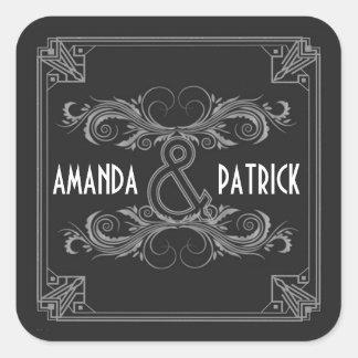 Art Deco Vintage Black & Silver Wedding Stickers