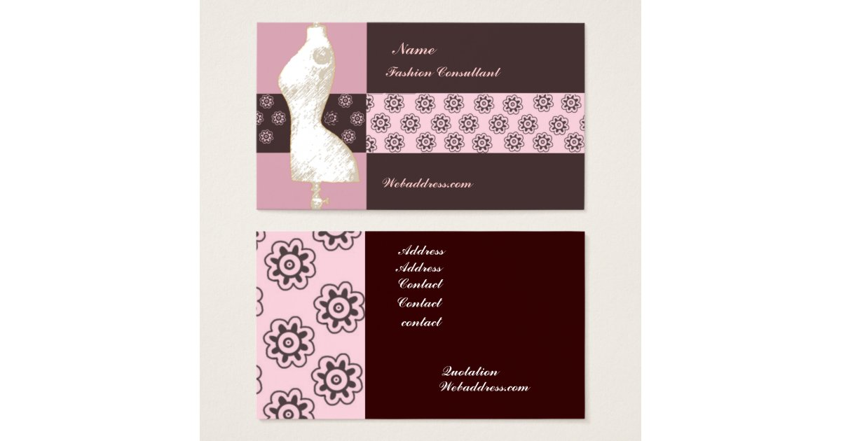 Art deco vintage fashion designer consultant business card Fashion design consultant