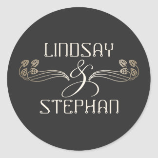 Art Deco Vintage Gold Ampersand Wedding Round Sticker