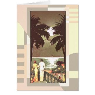 Art Deco Vintage Miami Beach   blush Card