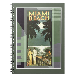 Art Deco Vintage Miami Beach Spiral Notebooks