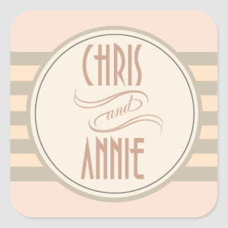Art Deco Vintage Names | blush Square Sticker