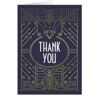 Art Deco Vintage Navy and Gold Wedding Thank You Card