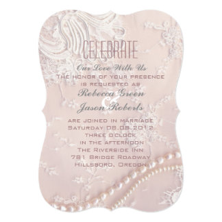 Art Deco vintage pearl lace blush pink wedding Card