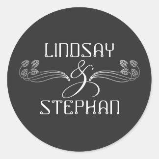 Art Deco Vintage Silver Ampersand Wedding Round Sticker