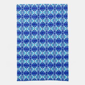 Art Deco wallpaper pattern - cobalt blue and white Kitchen Towels